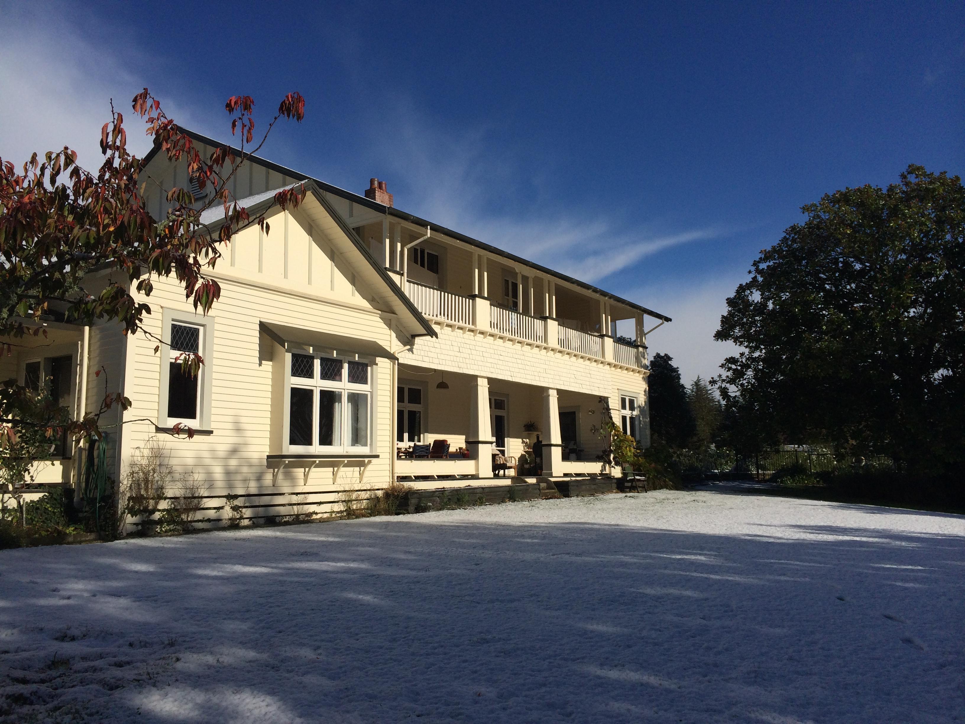 Waiwhenua Homestead in the snow